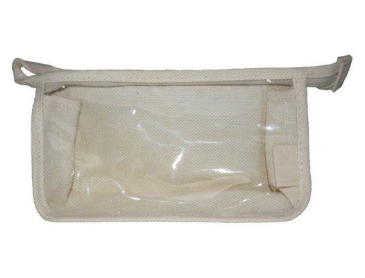 Tasche beige in Leinenoptik mit transparentem Sichtfenster ohne Einleger
